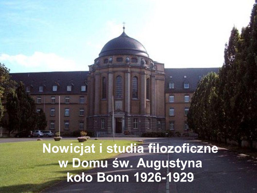 Nowicjat i studia filozoficzne w Domu św. Augustyna koło Bonn 1926-1929