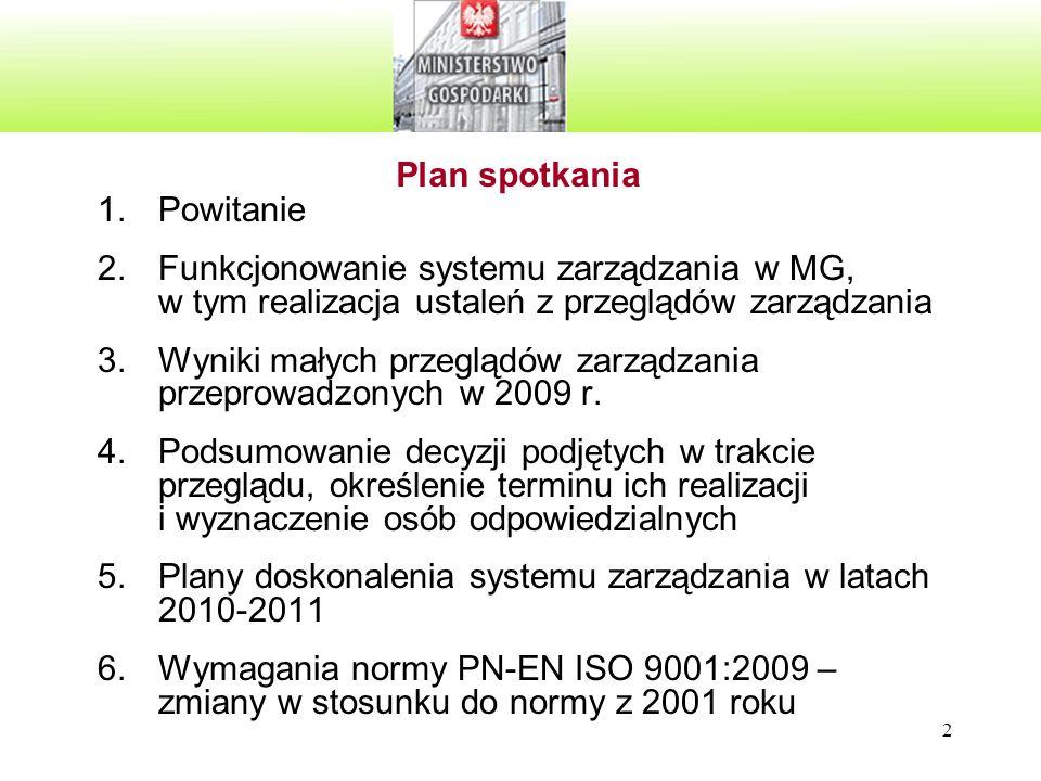 2 Plan spotkania 1.Powitanie 2.Funkcjonowanie systemu zarządzania w MG, w tym realizacja ustaleń z przeglądów zarządzania 3.Wyniki małych przeglądów z