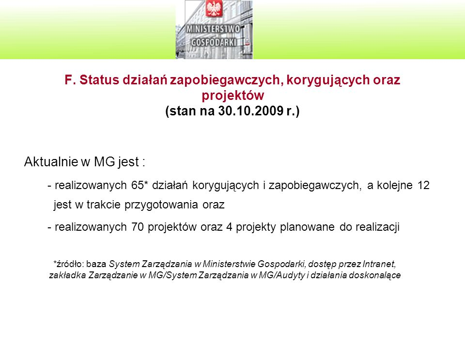 F. Status działań zapobiegawczych, korygujących oraz projektów (stan na 30.10.2009 r.) Aktualnie w MG jest : - realizowanych 65* działań korygujących