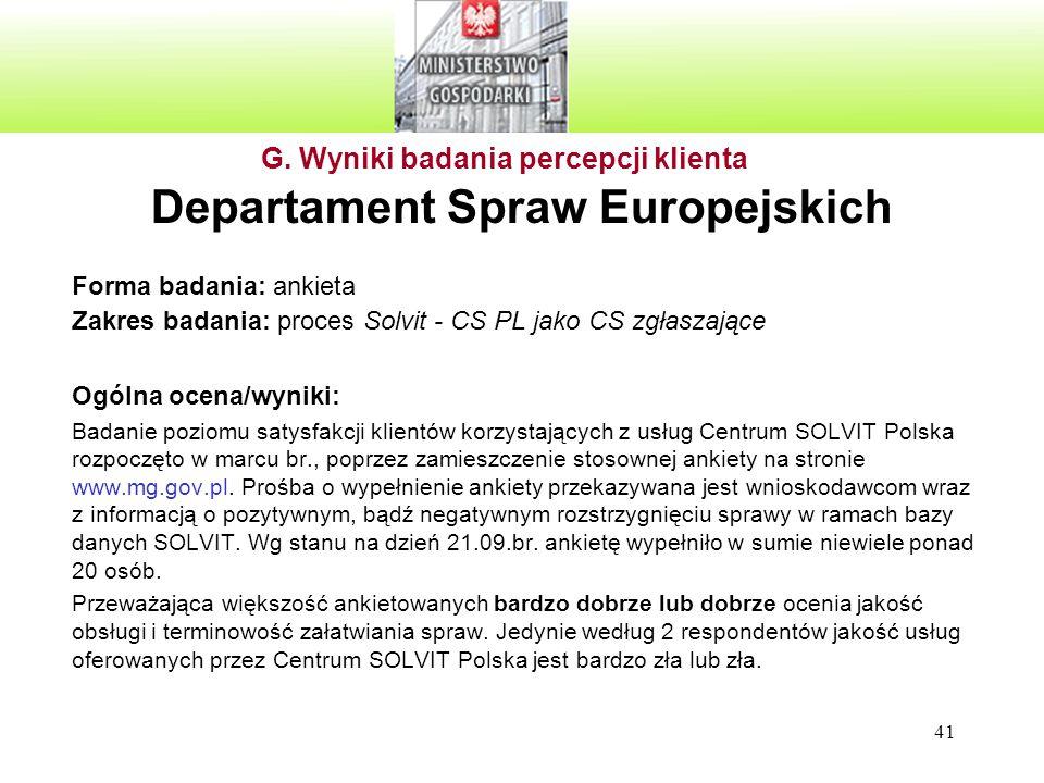 41 Departament Spraw Europejskich Forma badania: ankieta Zakres badania: proces Solvit - CS PL jako CS zgłaszające Ogólna ocena/wyniki: Badanie poziom