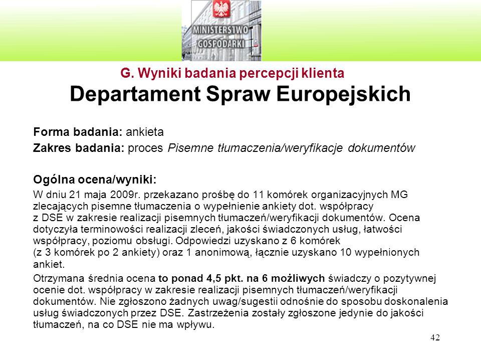 42 Departament Spraw Europejskich Forma badania: ankieta Zakres badania: proces Pisemne tłumaczenia/weryfikacje dokumentów Ogólna ocena/wyniki: W dniu