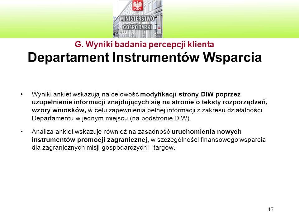 47 G. Wyniki badania percepcji klienta Departament Instrumentów Wsparcia Wyniki ankiet wskazują na celowość modyfikacji strony DIW poprzez uzupełnieni