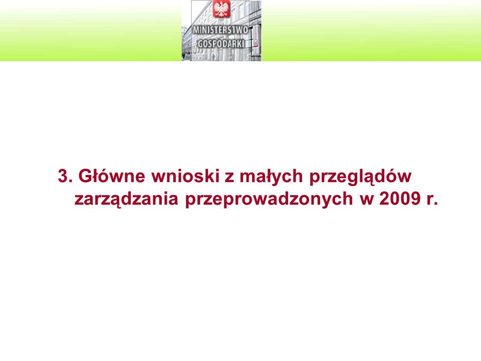 3. Główne wnioski z małych przeglądów zarządzania przeprowadzonych w 2009 r.