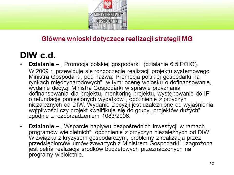 """58 Główne wnioski dotyczące realizacji strategii MG DIW c.d. Działanie – """" Promocja polskiej gospodarki (działanie 6.5 POIG). W 2009 r. przewiduje się"""