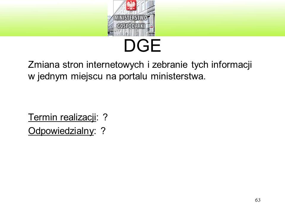 63 DGE Zmiana stron internetowych i zebranie tych informacji w jednym miejscu na portalu ministerstwa. Termin realizacji: ? Odpowiedzialny: ?