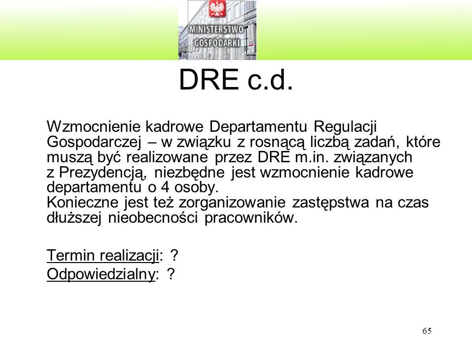 65 DRE c.d. Wzmocnienie kadrowe Departamentu Regulacji Gospodarczej – w związku z rosnącą liczbą zadań, które muszą być realizowane przez DRE m.in. zw