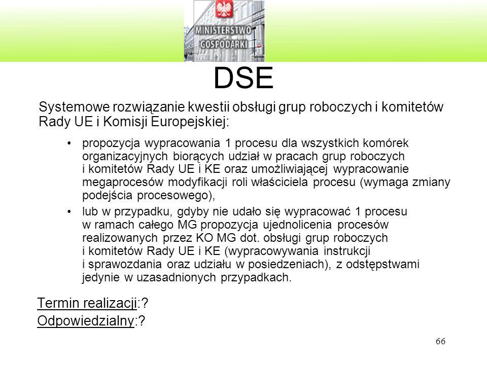 66 DSE Systemowe rozwiązanie kwestii obsługi grup roboczych i komitetów Rady UE i Komisji Europejskiej: propozycja wypracowania 1 procesu dla wszystki