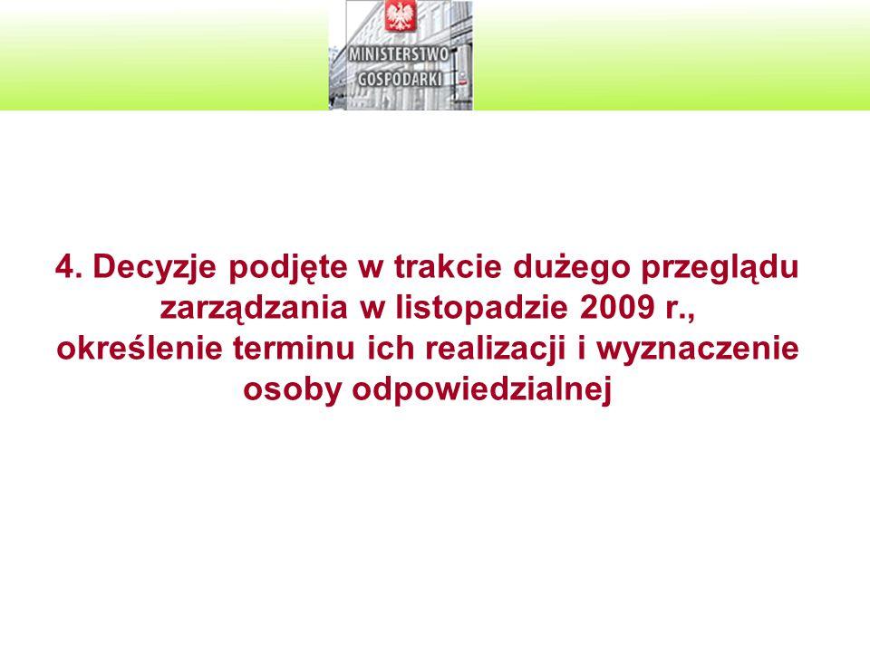 4. Decyzje podjęte w trakcie dużego przeglądu zarządzania w listopadzie 2009 r., określenie terminu ich realizacji i wyznaczenie osoby odpowiedzialnej