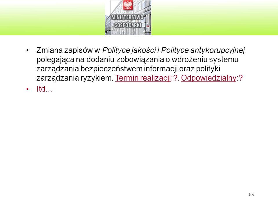 69 Zmiana zapisów w Polityce jakości i Polityce antykorupcyjnej polegająca na dodaniu zobowiązania o wdrożeniu systemu zarządzania bezpieczeństwem inf
