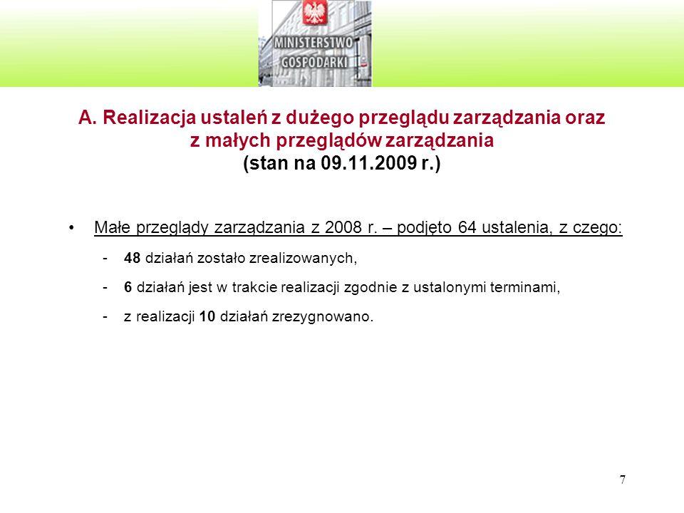 28 Miernik 3: realizacja ustaleń z małych i dużych przeglądów zarządzania z 2008 roku (stan na 09.11.2009 r.) -Oczekiwana wartość - nie mniej niż 80% -Uzyskana wartość – 72 % (potencjalna niezgodność) E.