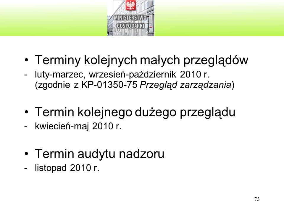 73 Terminy kolejnych małych przeglądów -luty-marzec, wrzesień-październik 2010 r. (zgodnie z KP-01350-75 Przegląd zarządzania) Termin kolejnego dużego