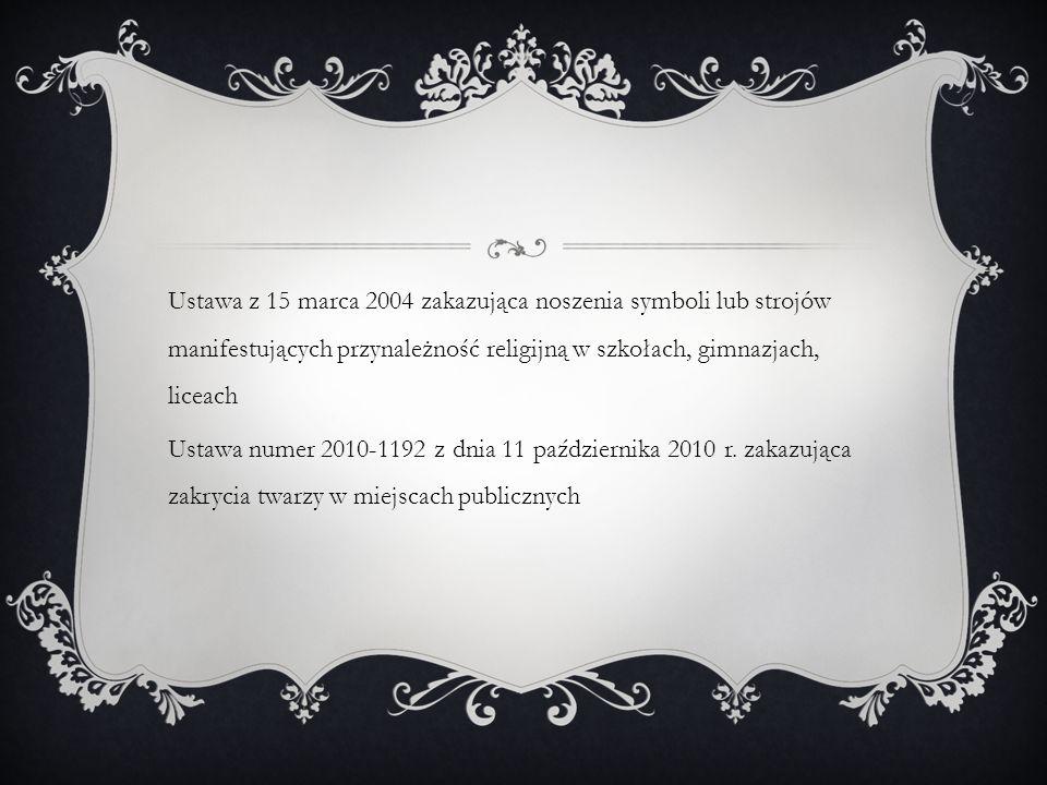 Ustawa z 15 marca 2004 zakazująca noszenia symboli lub strojów manifestujących przynależność religijną w szkołach, gimnazjach, liceach Ustawa numer 20