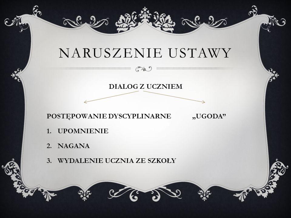 """NARUSZENIE USTAWY DIALOG Z UCZNIEM POSTĘPOWANIE DYSCYPLINARNE""""UGODA"""" 1.UPOMNIENIE 2.NAGANA 3.WYDALENIE UCZNIA ZE SZKOŁY"""