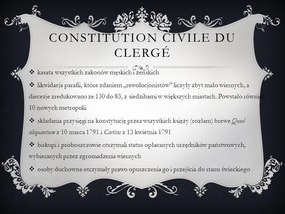 """CONSTITUTION CIVILE DU CLERGÉ  kasata wszystkich zakonów męskich i żeńskich  likwidacja parafii, które zdaniem """"rewolucjonistów liczyły zbyt mało wiernych, a diecezje zredukowano ze 130 do 83, z siedzibami w większych miastach."""