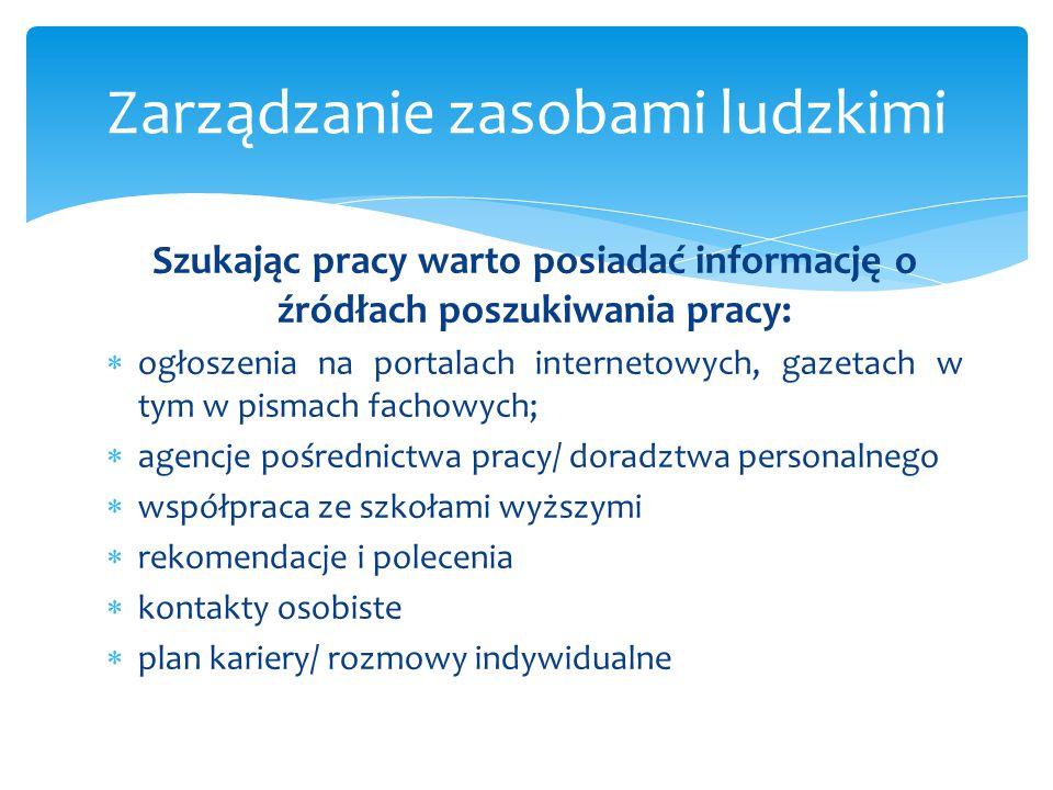 Szukając pracy warto posiadać informację o źródłach poszukiwania pracy:  ogłoszenia na portalach internetowych, gazetach w tym w pismach fachowych; 