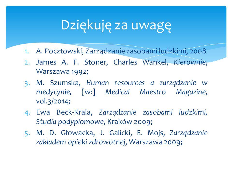 1.A. Pocztowski, Zarządzanie zasobami ludzkimi, 2008 2.James A. F. Stoner, Charles Wankel, Kierownie, Warszawa 1992; 3.M. Szumska, Human resources a z