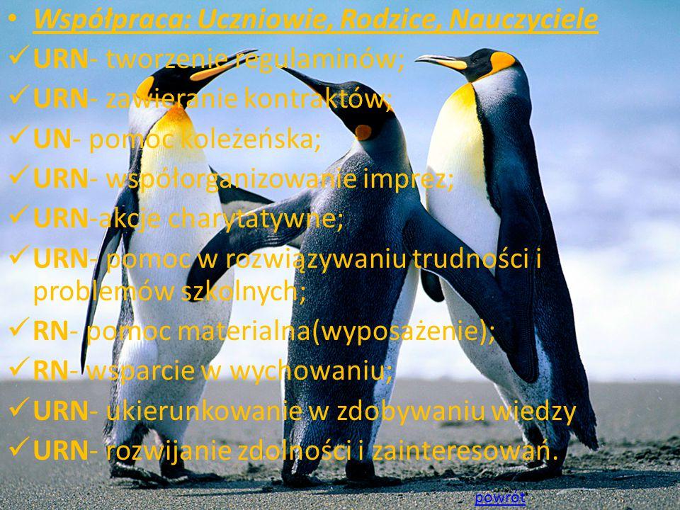 Współpraca: Uczniowie, Rodzice, Nauczyciele URN- tworzenie regulaminów; URN- zawieranie kontraktów; UN- pomoc koleżeńska; URN- współorganizowanie imprez; URN-akcje charytatywne; URN- pomoc w rozwiązywaniu trudności i problemów szkolnych; RN- pomoc materialna(wyposażenie); RN- wsparcie w wychowaniu; URN- ukierunkowanie w zdobywaniu wiedzy URN- rozwijanie zdolności i zainteresowań.