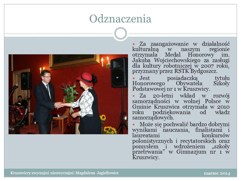 """Podsumowanie Ogromne zaangażowanie i poświęcenie jakie wkłada pani Magdalena Jagiełłowicz w działania na rzecz promocji miasta i gminy Kruszwica zdecydowanie świadczy o tym, że w pełni zasługuje na tytuł """"kruszwickiej zwyczajnej-niezwyczajnej ."""
