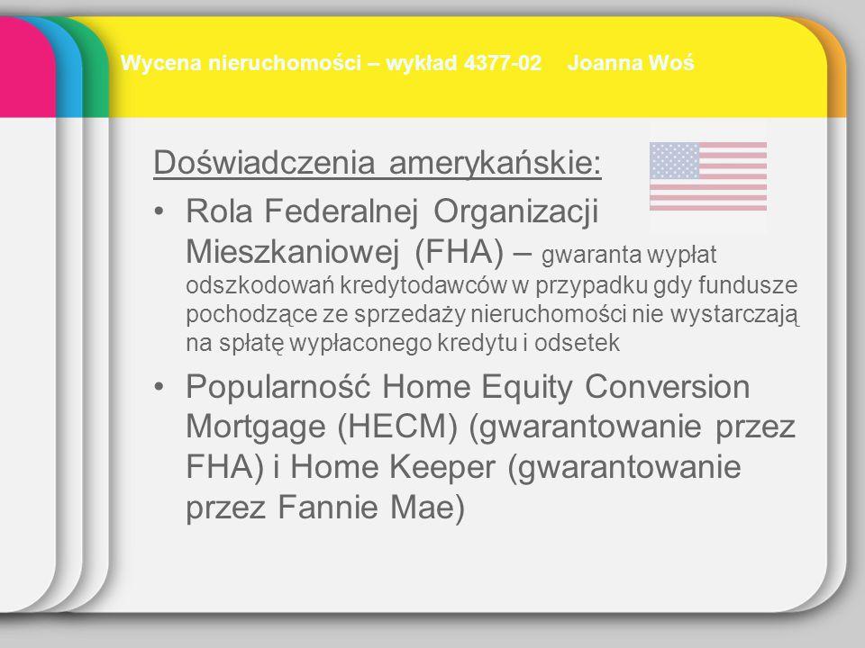 Doświadczenia amerykańskie: Rola Federalnej Organizacji Mieszkaniowej (FHA) – gwaranta wypłat odszkodowań kredytodawców w przypadku gdy fundusze pocho