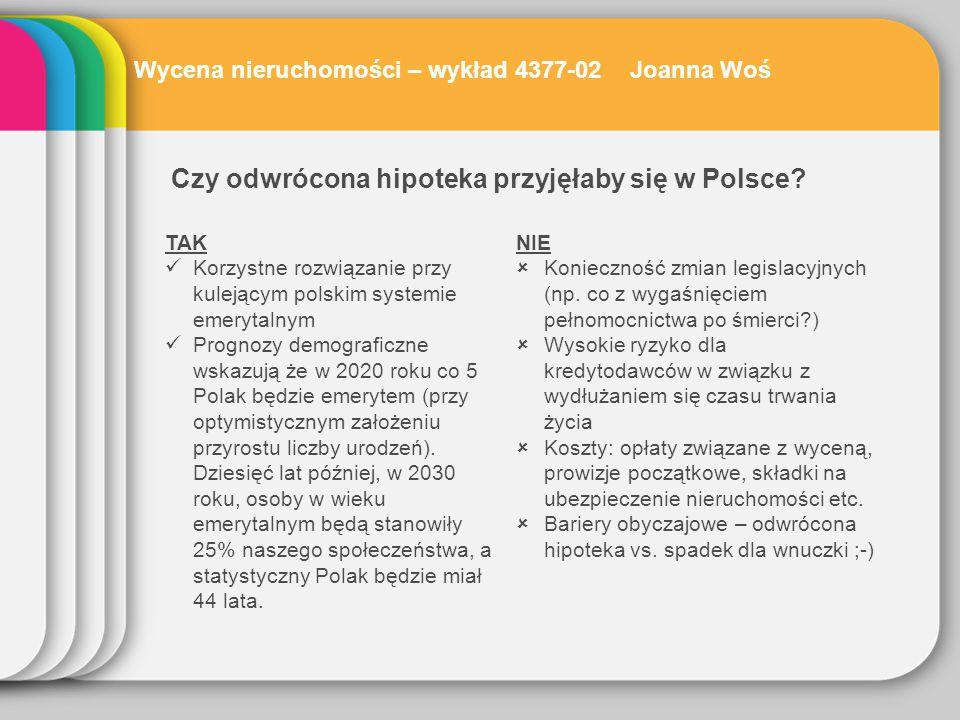Zainteresowanie klientów polskich banków odwróconą hipoteką Wycena nieruchomości – wykład 4377-02 Joanna Woś