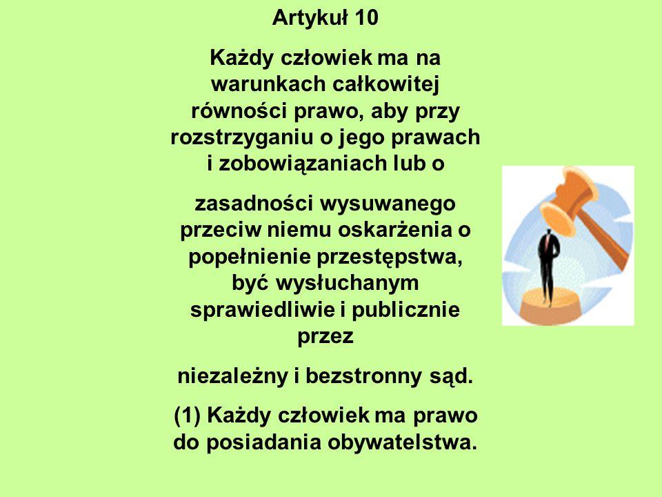 Artykuł 10 Każdy człowiek ma na warunkach całkowitej równości prawo, aby przy rozstrzyganiu o jego prawach i zobowiązaniach lub o zasadności wysuwaneg