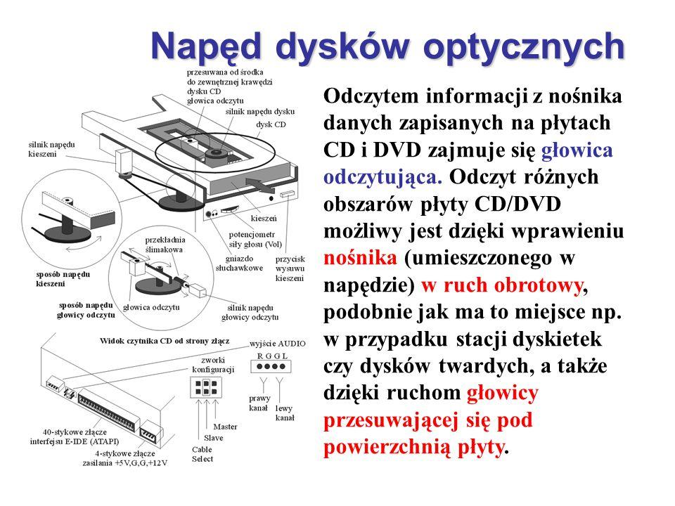 Napęd dysków optycznych Odczytem informacji z nośnika danych zapisanych na płytach CD i DVD zajmuje się głowica odczytująca. Odczyt różnych obszarów p