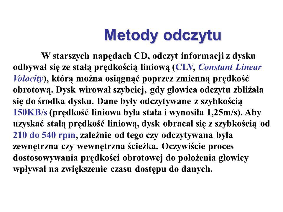 Metody odczytu W starszych napędach CD, odczyt informacji z dysku odbywał się ze stałą prędkością liniową (CLV, Constant Linear Volocity), którą można