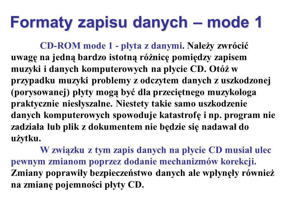 Formaty zapisu danych – mode 1 CD-ROM mode 1 - płyta z danymi. Należy zwrócić uwagę na jedną bardzo istotną różnicę pomiędzy zapisem muzyki i danych k