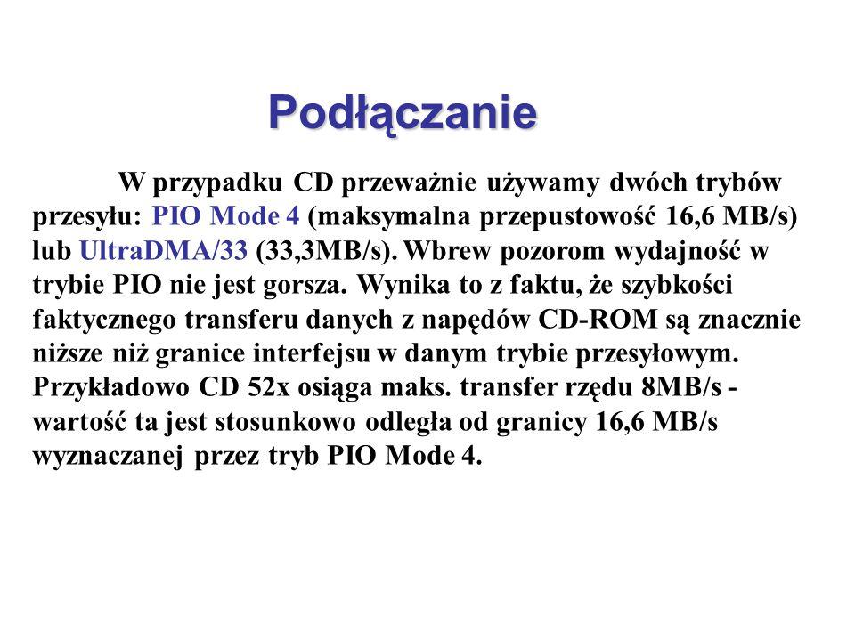 Podłączanie W przypadku CD przeważnie używamy dwóch trybów przesyłu: PIO Mode 4 (maksymalna przepustowość 16,6 MB/s) lub UltraDMA/33 (33,3MB/s). Wbrew