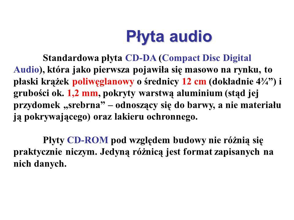 Płyta audio Standardowa płyta CD-DA (Compact Disc Digital Audio), która jako pierwsza pojawiła się masowo na rynku, to płaski krążek poliwęglanowy o ś
