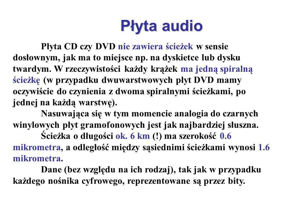 Płyta audio Płyta CD czy DVD nie zawiera ścieżek w sensie dosłownym, jak ma to miejsce np. na dyskietce lub dysku twardym. W rzeczywistości każdy krąż