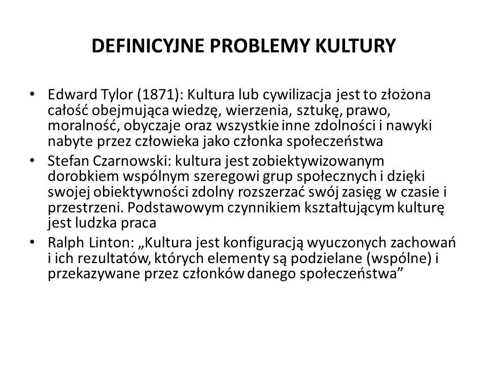 DEFINICYJNE PROBLEMY KULTURY Edward Tylor (1871): Kultura lub cywilizacja jest to złożona całość obejmująca wiedzę, wierzenia, sztukę, prawo, moralnoś