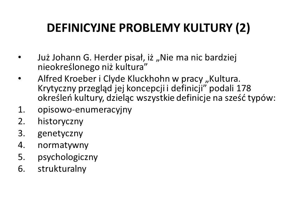DEFINICYJNE PROBLEMY KULTURY (3) typ opisowo-enumeracyjny: definicje zaliczane do niego w członie definiowanym (definiens) zawierają wyliczenie (enumerację) lub opis (deskrypcję) tego, co stanowi kulturę (definiendum) Schemat takich definicji: KULTURA to A+B+C+D…