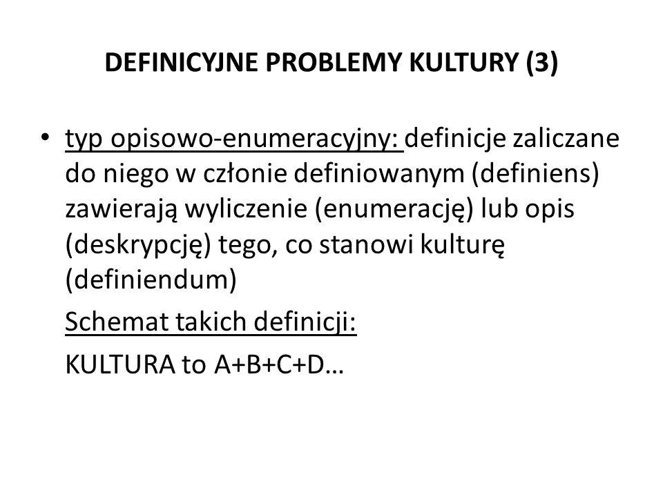 DEFINICYJNE PROBLEMY KULTURY (3) typ opisowo-enumeracyjny: definicje zaliczane do niego w członie definiowanym (definiens) zawierają wyliczenie (enume