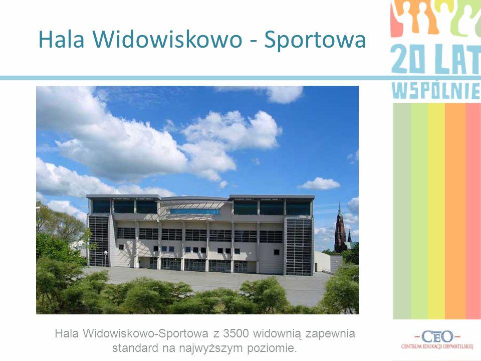 Hala Widowiskowo - Sportowa Hala Widowiskowo-Sportowa z 3500 widownią zapewnia standard na najwyższym poziomie.