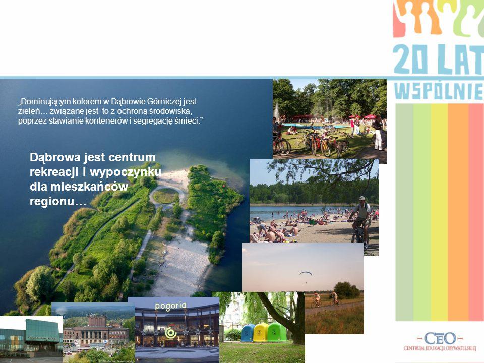 """""""Dominującym kolorem w Dąbrowie Górniczej jest zieleń… związane jest to z ochroną środowiska, poprzez stawianie kontenerów i segregację śmieci. Dąbrowa jest centrum rekreacji i wypoczynku dla mieszkańców regionu…"""