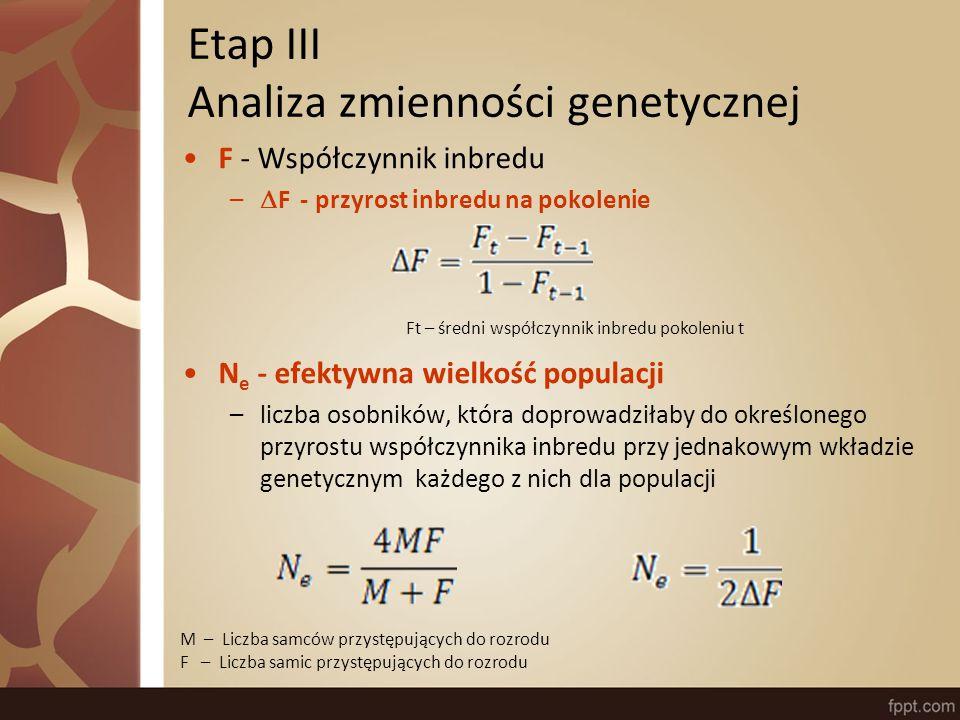 F - Współczynnik inbredu –  F - przyrost inbredu na pokolenie N e - efektywna wielkość populacji –liczba osobników, która doprowadziłaby do określonego przyrostu współczynnika inbredu przy jednakowym wkładzie genetycznym każdego z nich dla populacji M – Liczba samców przystępujących do rozrodu F – Liczba samic przystępujących do rozrodu Ft – średni współczynnik inbredu pokoleniu t Etap III Analiza zmienności genetycznej