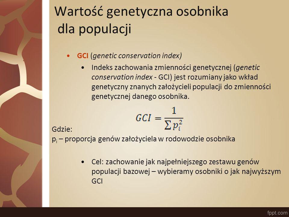 Wartość genetyczna osobnika dla populacji GCI (genetic conservation index) Indeks zachowania zmienności genetycznej (genetic conservation index - GCI) jest rozumiany jako wkład genetyczny znanych założycieli populacji do zmienności genetycznej danego osobnika.
