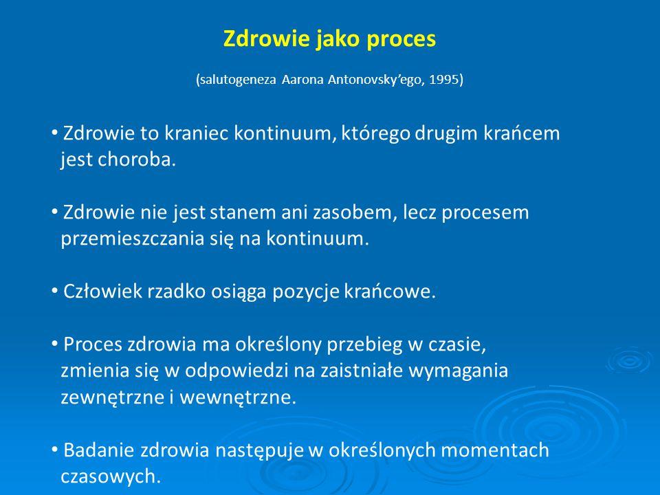 Zdrowie jako proces (salutogeneza Aarona Antonovsky'ego, 1995) Zdrowie to kraniec kontinuum, którego drugim krańcem jest choroba. Zdrowie nie jest sta