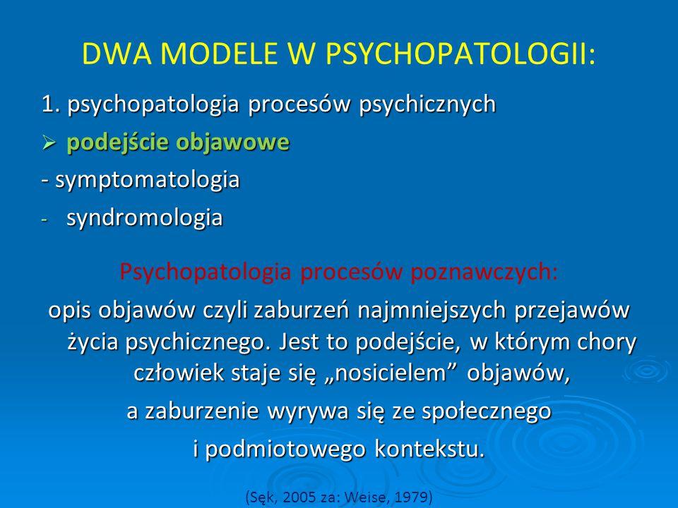 DWA MODELE W PSYCHOPATOLOGII: 1. psychopatologia procesów psychicznych  podejście objawowe - symptomatologia - syndromologia Psychopatologia procesów