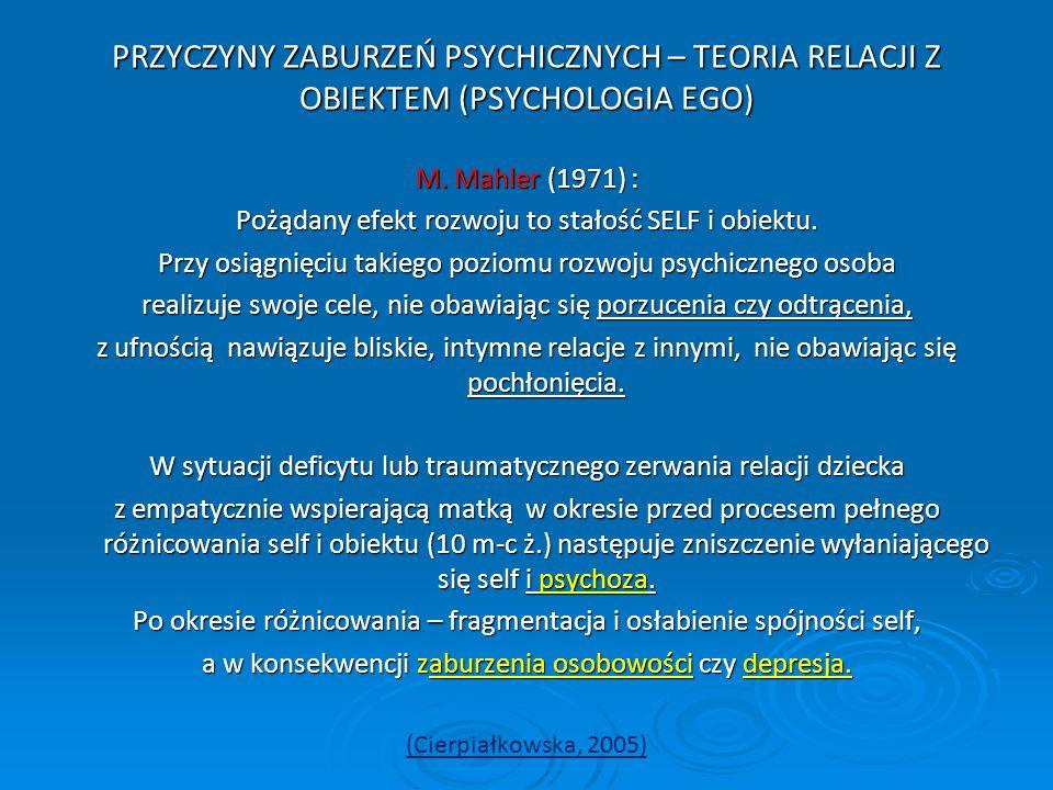 PRZYCZYNY ZABURZEŃ PSYCHICZNYCH – TEORIA RELACJI Z OBIEKTEM (PSYCHOLOGIA EGO) M. Mahler (1971) : Pożądany efekt rozwoju to stałość SELF i obiektu. Prz
