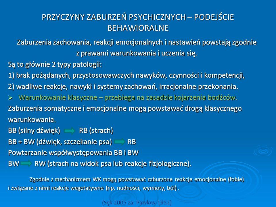 PRZYCZYNY ZABURZEŃ PSYCHICZNYCH – PODEJŚCIE BEHAWIORALNE Zaburzenia zachowania, reakcji emocjonalnych i nastawień powstają zgodnie z prawami warunkowa