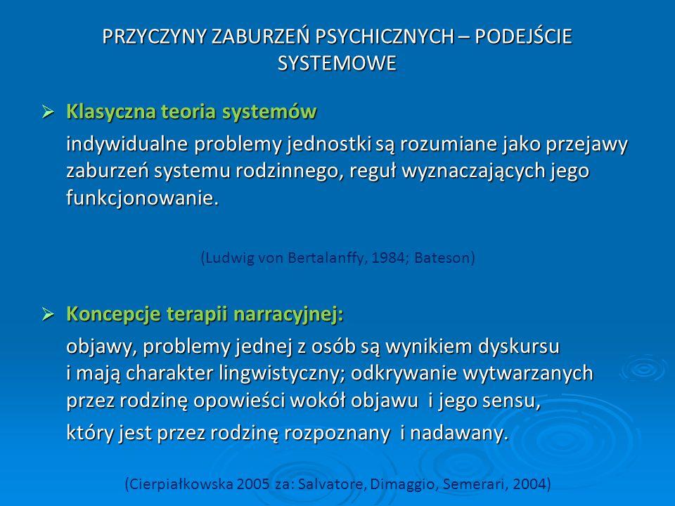 PRZYCZYNY ZABURZEŃ PSYCHICZNYCH – PODEJŚCIE SYSTEMOWE  Klasyczna teoria systemów indywidualne problemy jednostki są rozumiane jako przejawy zaburzeń