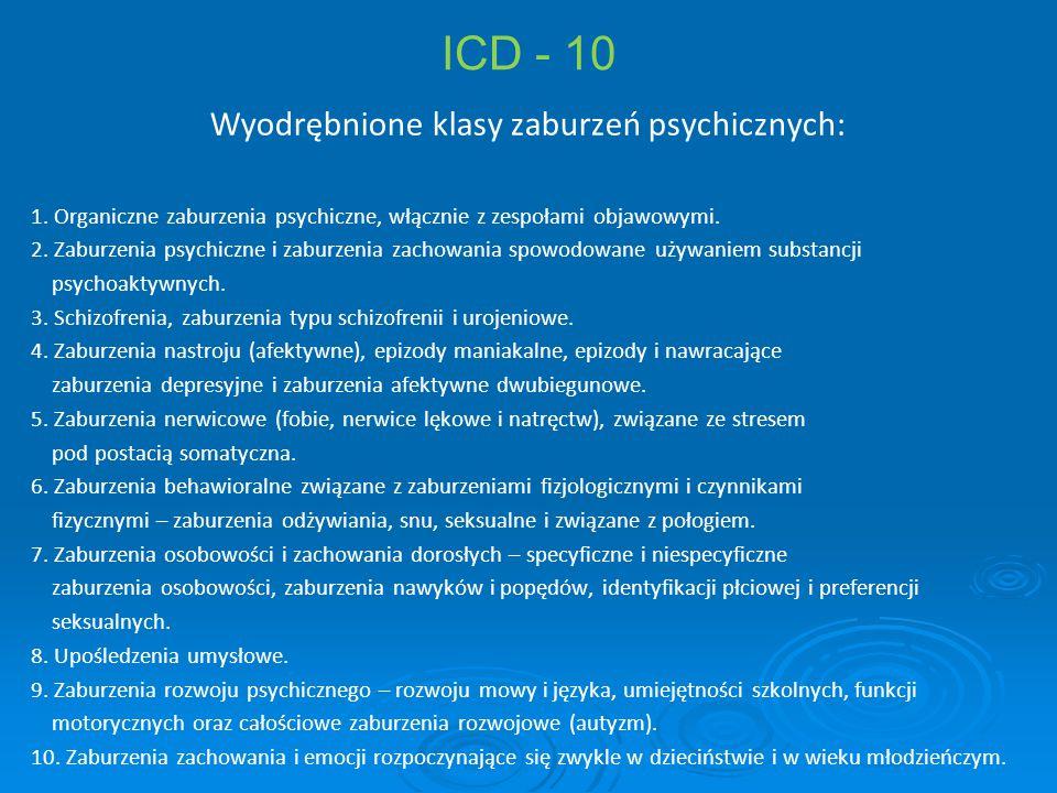 ICD - 10 Wyodrębnione klasy zaburzeń psychicznych: 1. Organiczne zaburzenia psychiczne, włącznie z zespołami objawowymi. 2. Zaburzenia psychiczne i za