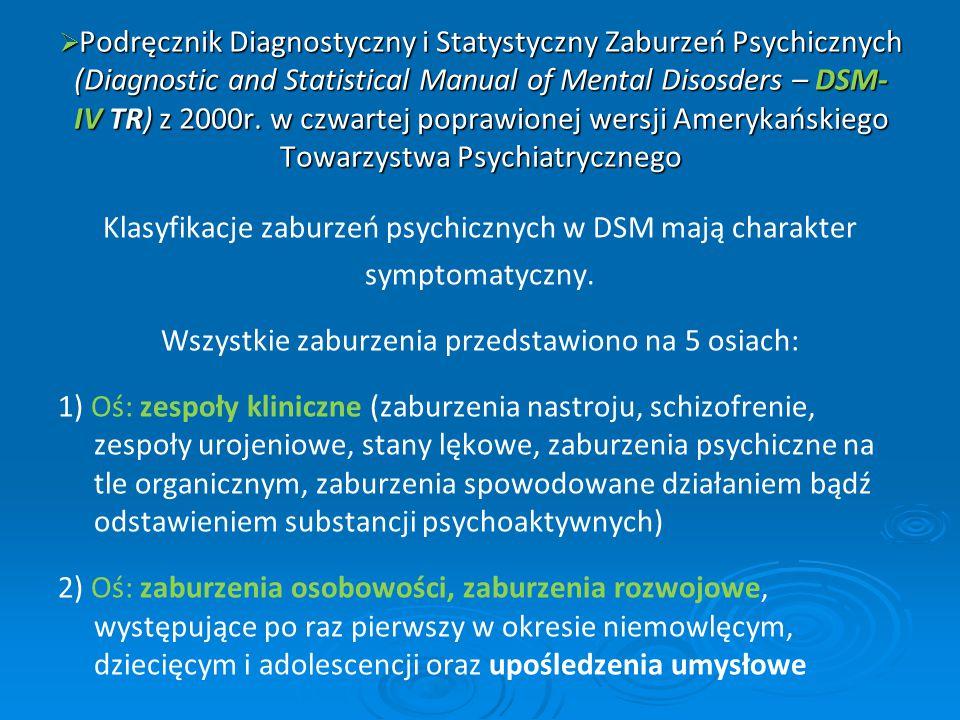  Podręcznik Diagnostyczny i Statystyczny Zaburzeń Psychicznych (Diagnostic and Statistical Manual of Mental Disosders – DSM- IV TR) z 2000r. w czwart