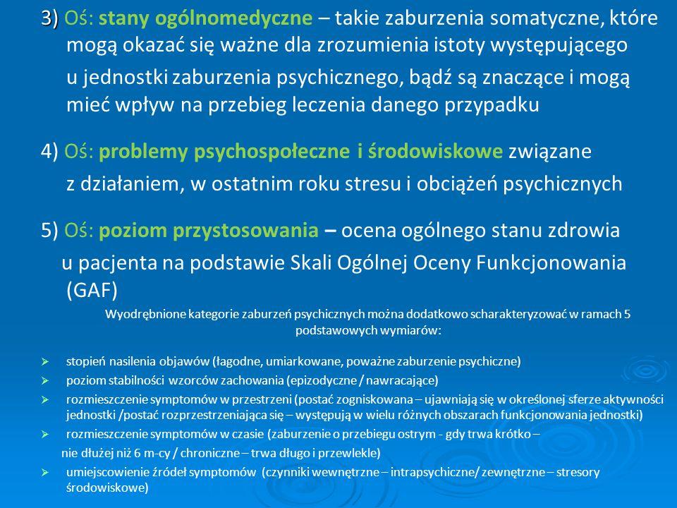 3) 3) Oś: stany ogólnomedyczne – takie zaburzenia somatyczne, które mogą okazać się ważne dla zrozumienia istoty występującego u jednostki zaburzenia