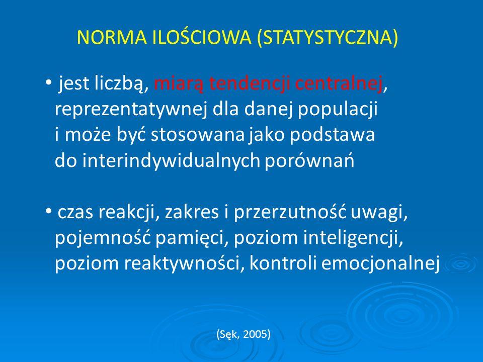 NORMA ILOŚCIOWA (STATYSTYCZNA) jest liczbą, miarą tendencji centralnej, reprezentatywnej dla danej populacji i może być stosowana jako podstawa do int