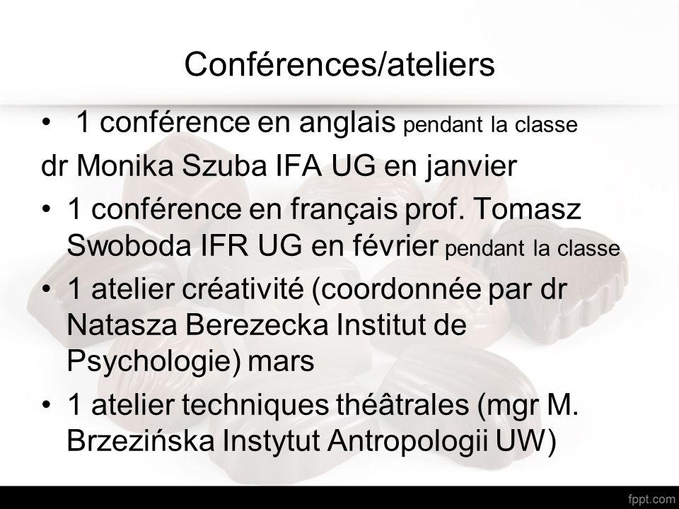 Conférences/ateliers 1 conférence en anglais pendant la classe dr Monika Szuba IFA UG en janvier 1 conférence en français prof.