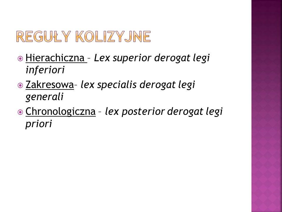  Hierachiczna – Lex superior derogat legi inferiori  Zakresowa– lex specialis derogat legi generali  Chronologiczna – lex posterior derogat legi pr