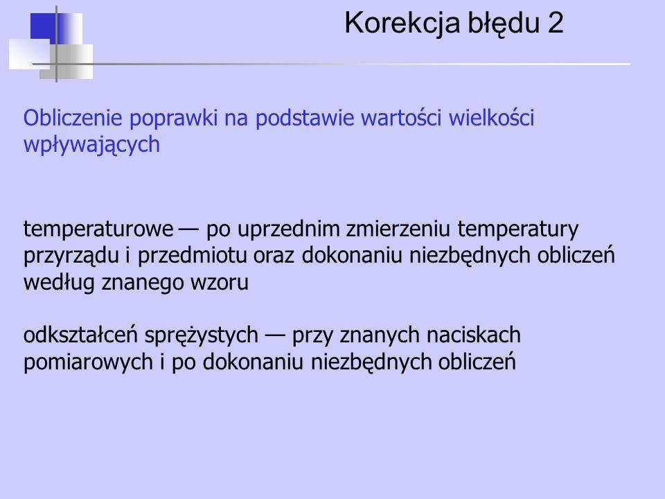 Korekcja błędu 2 Obliczenie poprawki na podstawie wartości wielkości wpływających temperaturowe — po uprzednim zmierzeniu temperatury przyrządu i prze